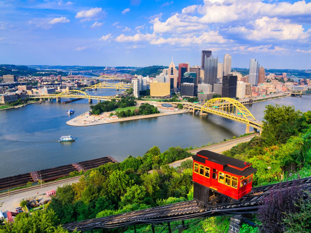 The Allegheny and Monongahela Rivers join at the start of the Ohio River in Pittsburgh, Pennsylvania