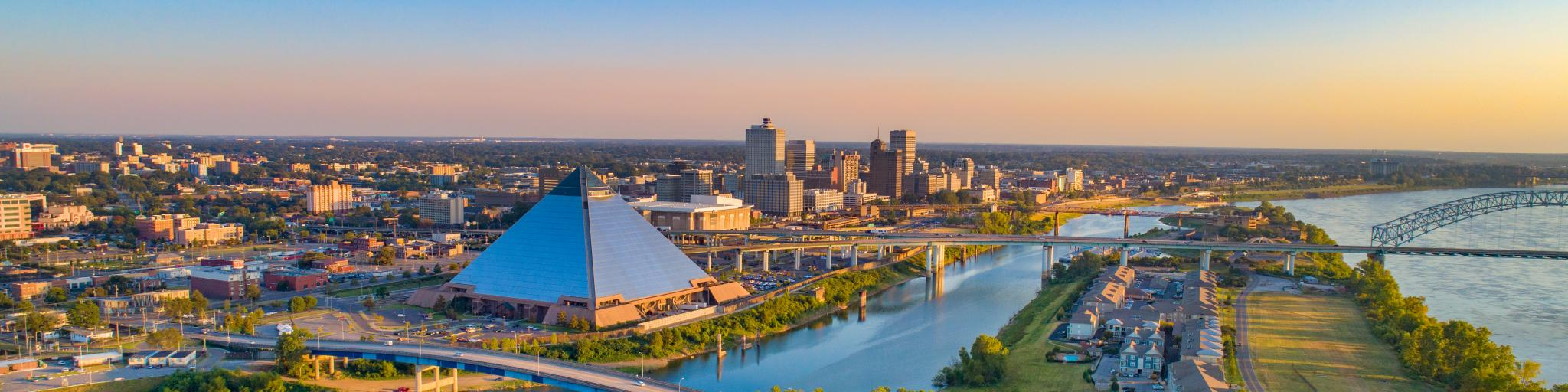 View of the city skyline of Memphis, Tennessee and the Mississippi river on a beautiful morning