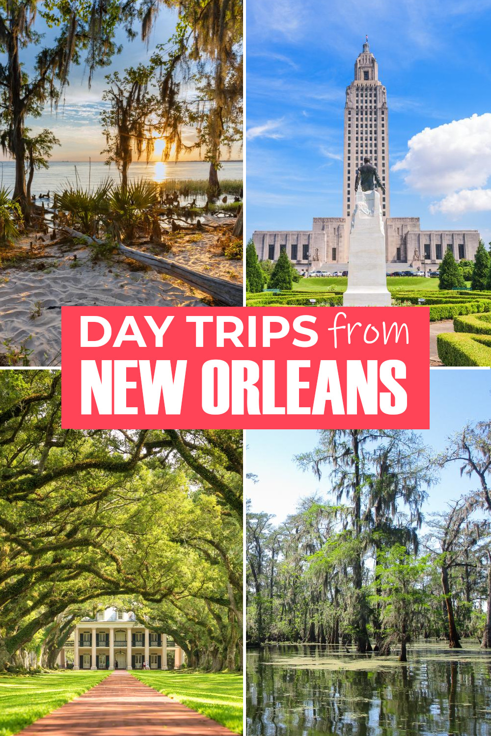 Our list of the 25 best day trips from New Orleans including swamps, bayous, historic cities, drives along the Mississippi and even the Tabasco Sauce factory.