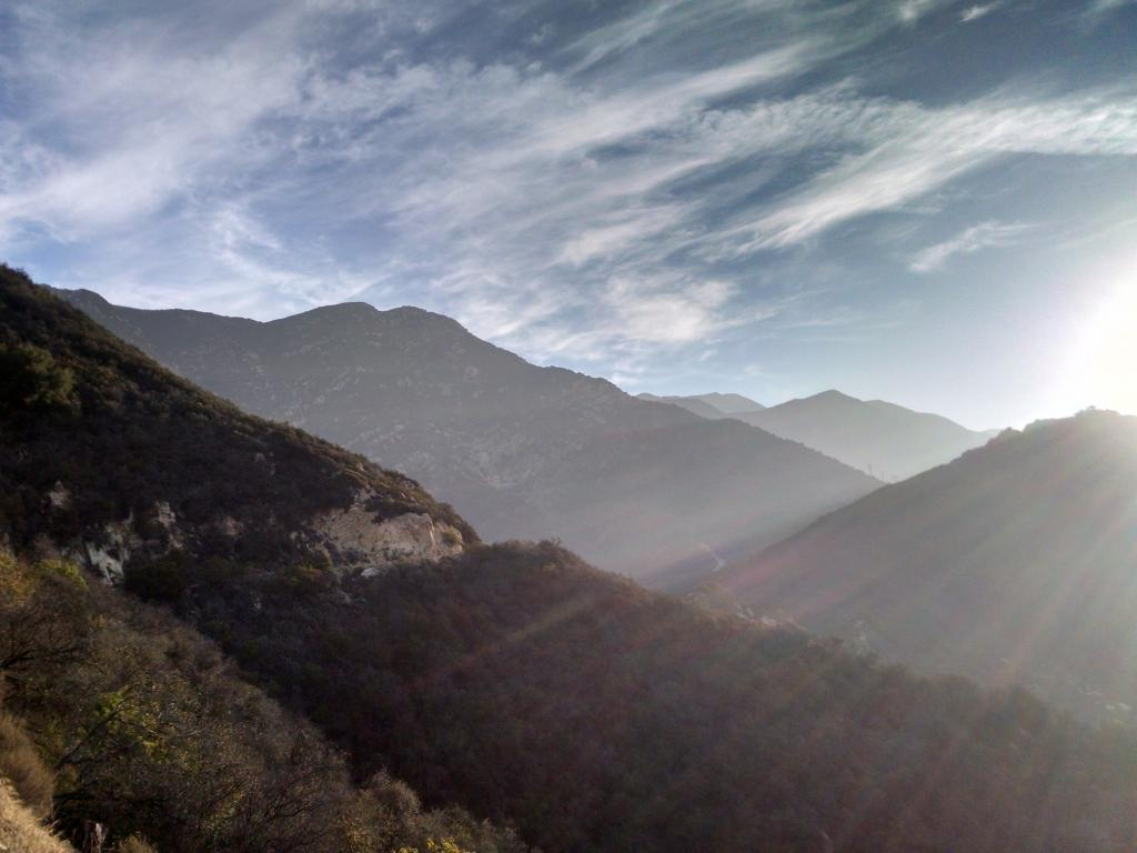 Early morning of mountains in Romero Canyon, Montecito California
