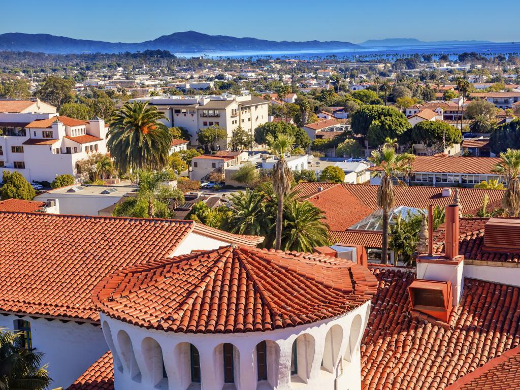 Orange tiled roofs of the Court House in Santa Barbara, California