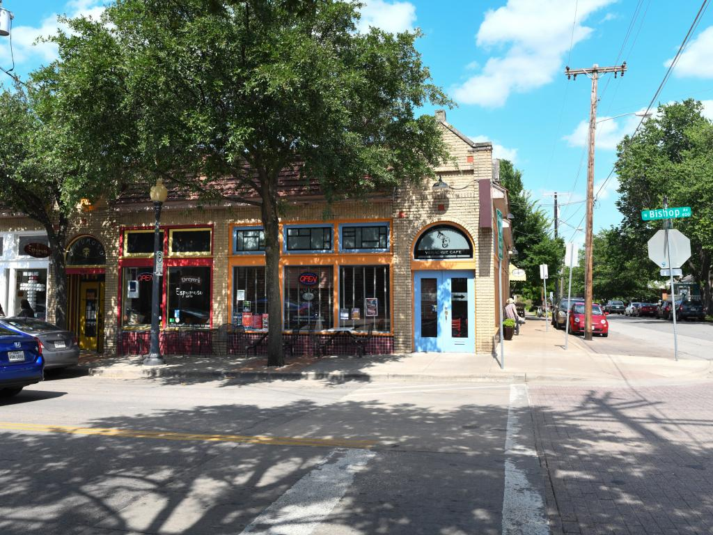 Quaint shops and restaurants in the Bishop Arts District in Dallas, TX
