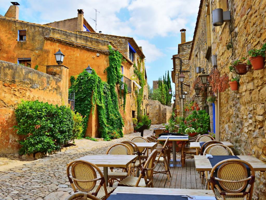 Medieval Peratallada - stone cobbled village in Catalonia, a 2 hour drive from Barcelona