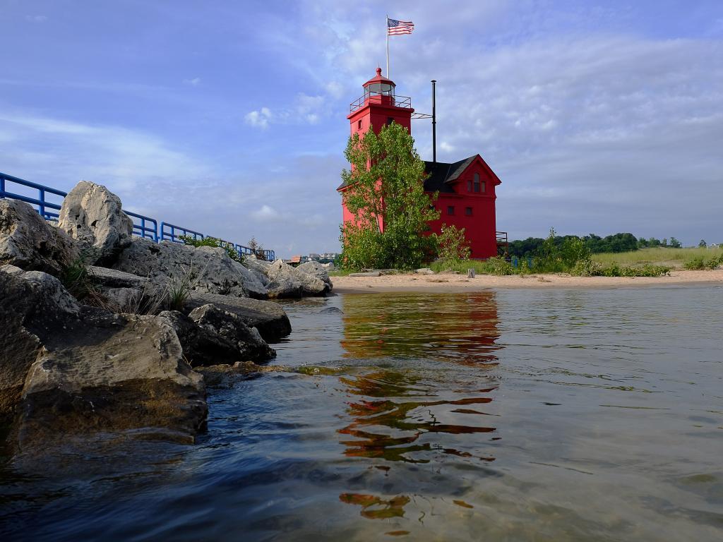 Big Red Lighthouse where Lake Macatawa meets Lake Michigan in Holland, Michigan