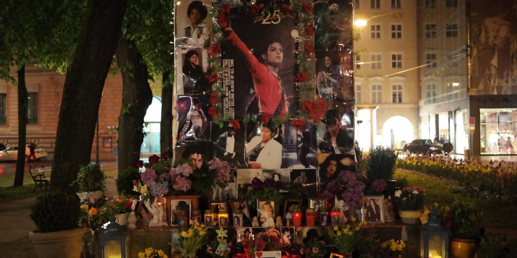 The Michael Jackson shrine in Munich with picture of him, candles, messages and flowers