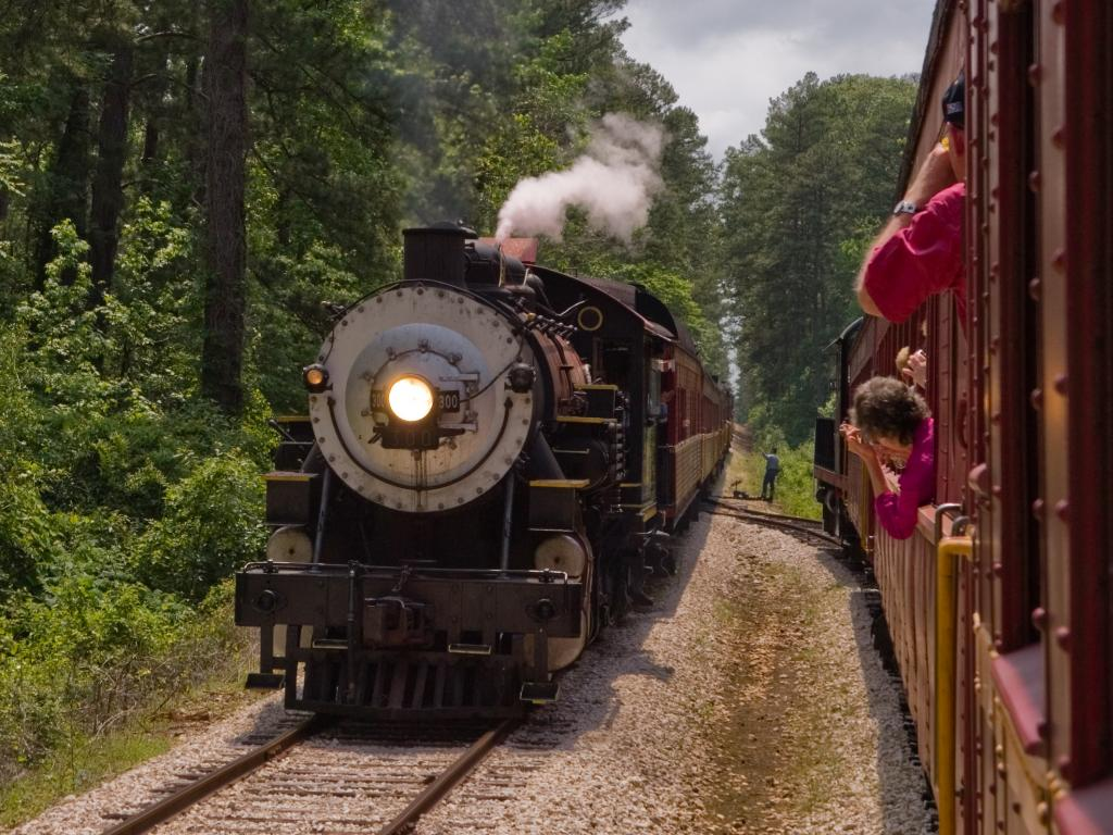A classic steam engine passing a train on the Texas State Railroad between Palestine and Rusk.
