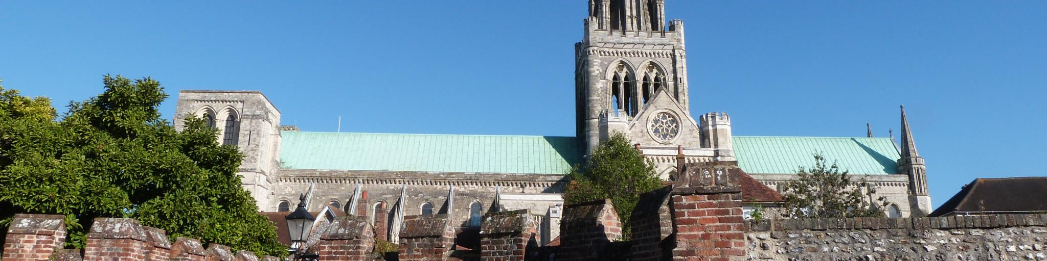 The Chichester Cathedral's Gothic steeple is the tallest point in the city