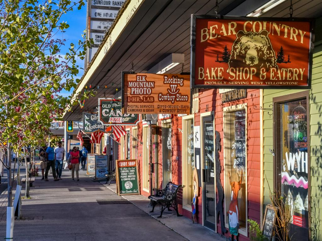 Shops along Canyon Street in West Yellowstone, Montana