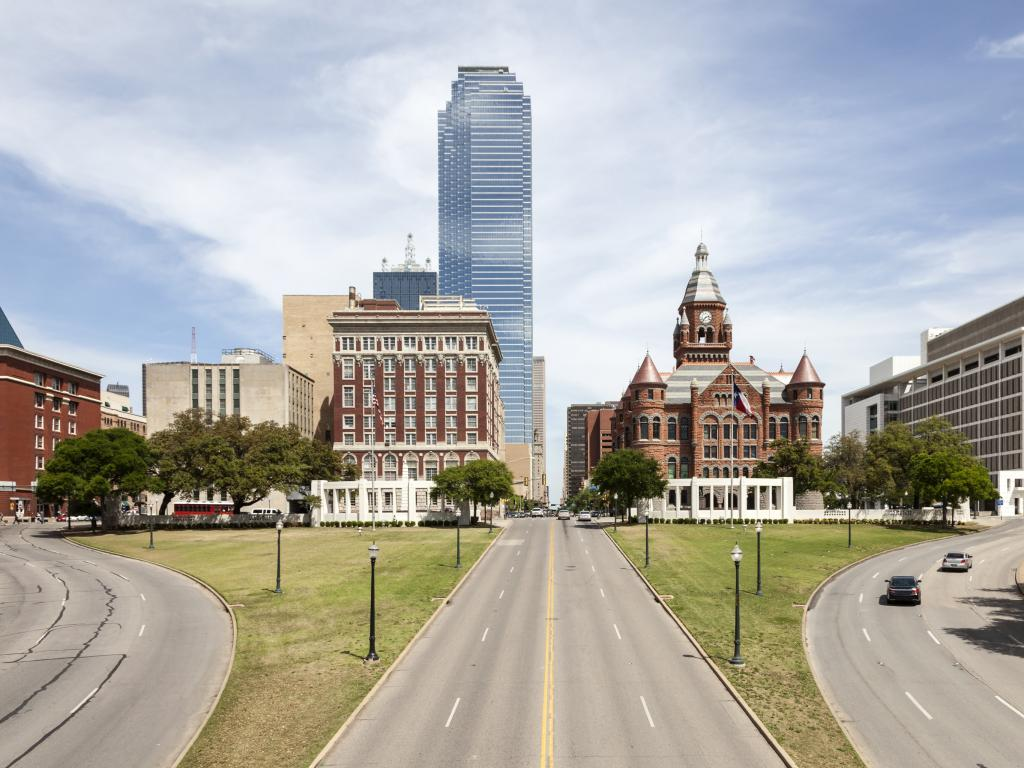Roads through Dealey Plaza in the city of Dallas. Texas