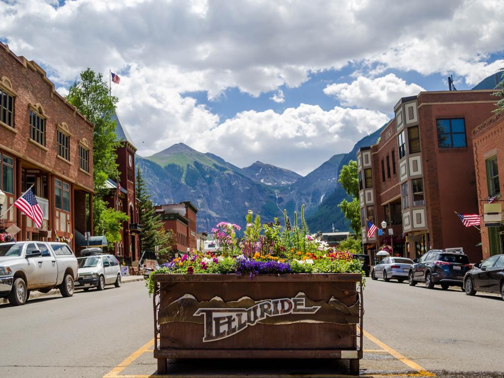 The pretty town of Telluride in Colorado's San Juan Mountains