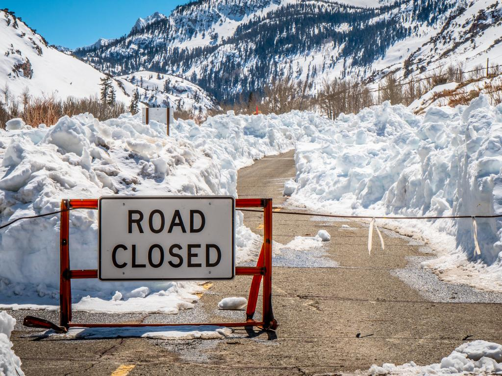 Road closed in Inyo National Forest due to snow in the winter, California.