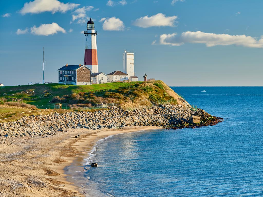 Montauk Lighthouse and beach are an iconic sight at the eastern tip of Long Island, New York.