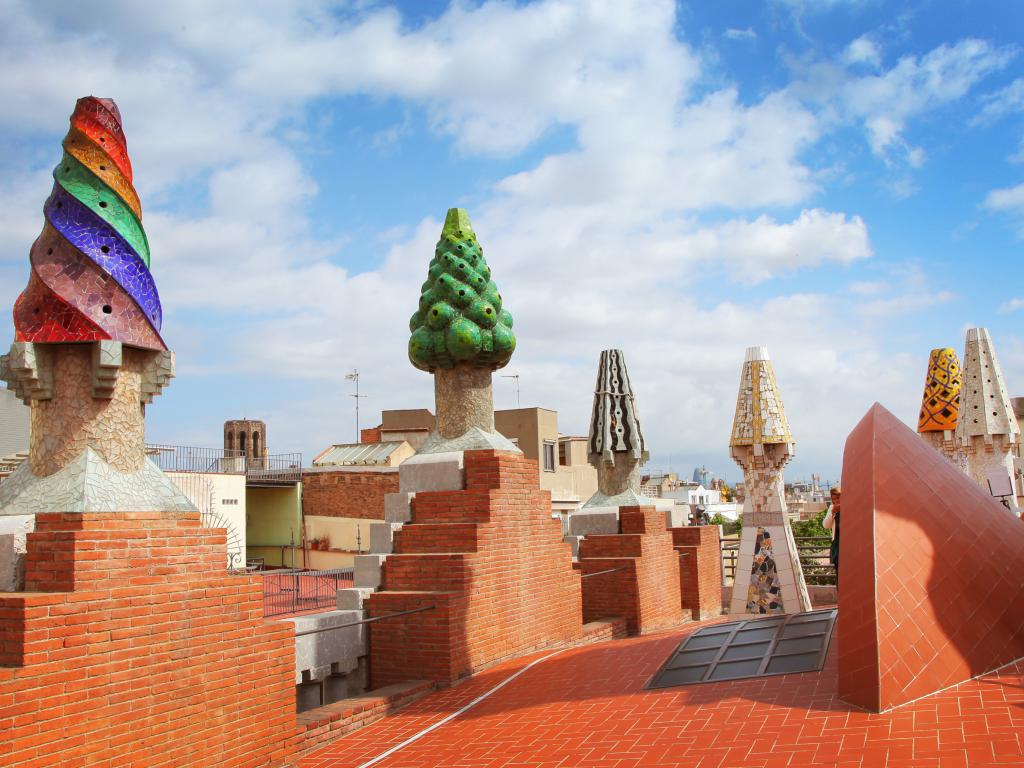 Mosaic chimneys on the roof of Palau Guell in Barcelona