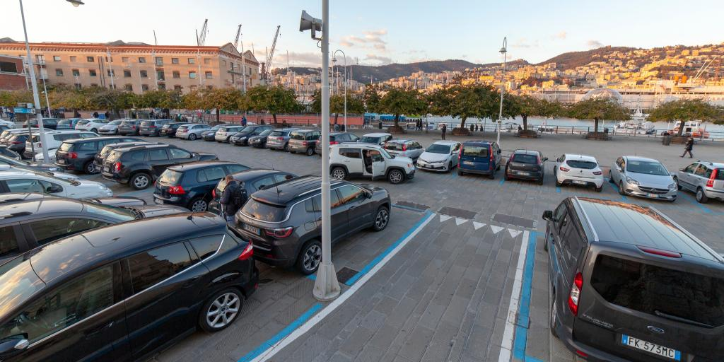 Cars parked in a lot in Genoa, Italy
