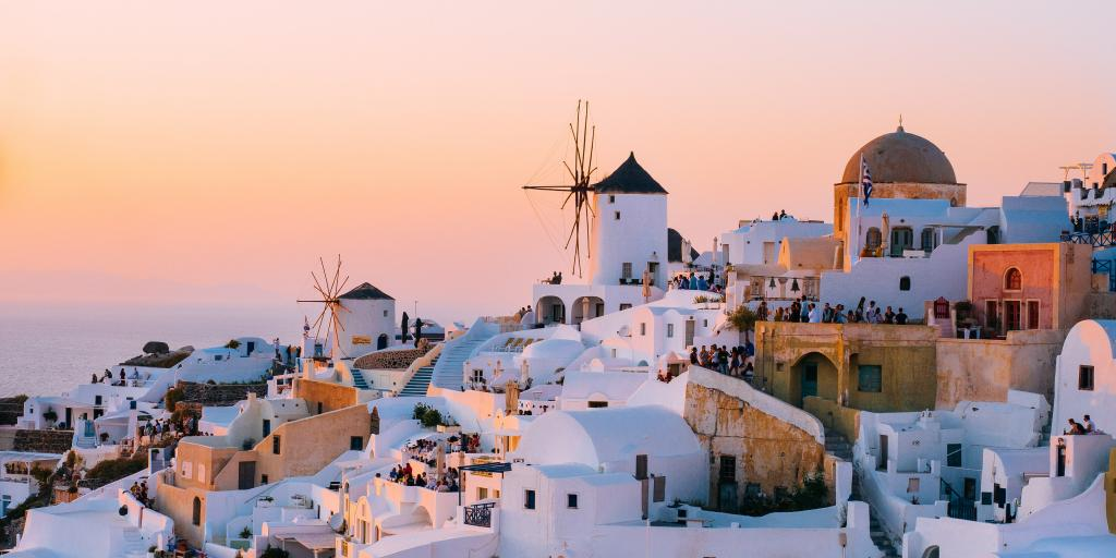 Oia in Santorini at sunset