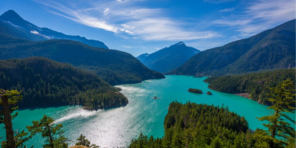 The beautiful turquoise Diablo Lake in Washington state's North Cascade mountains