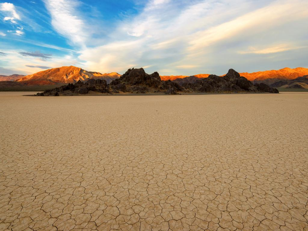 The dried out Racetrack Playa in Death Valley National Park, California.