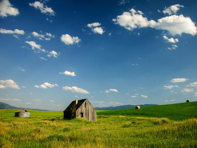 A small house sits in a green field in Swan Valley, Idaho, with a blue sky above