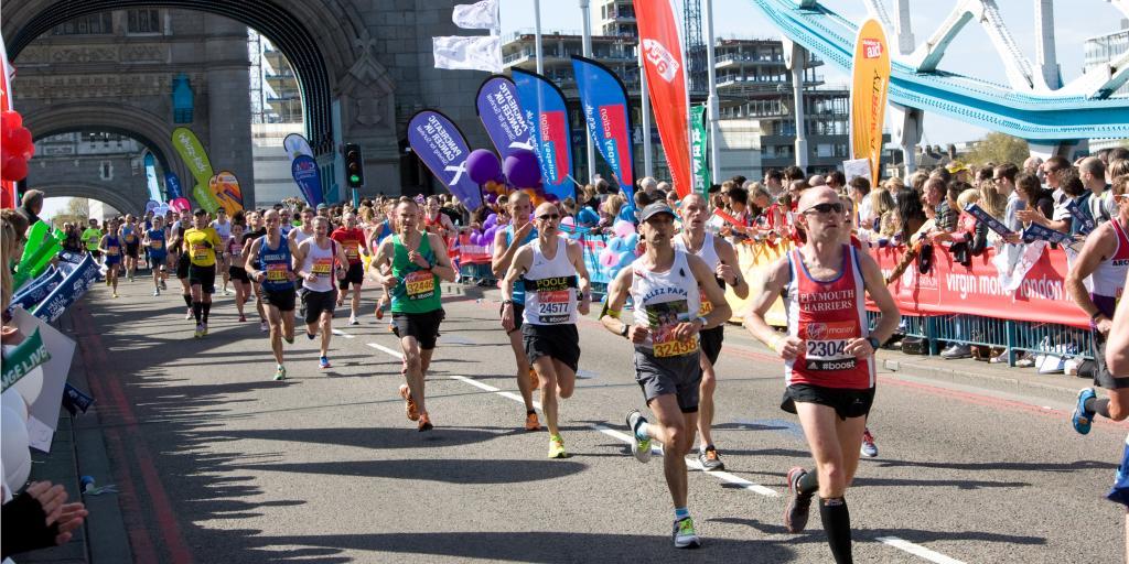 Marathon runners on Tower Bridge, London