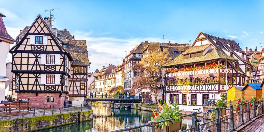 The canal in Petite France, Strasbourg, with half-timered houses either side