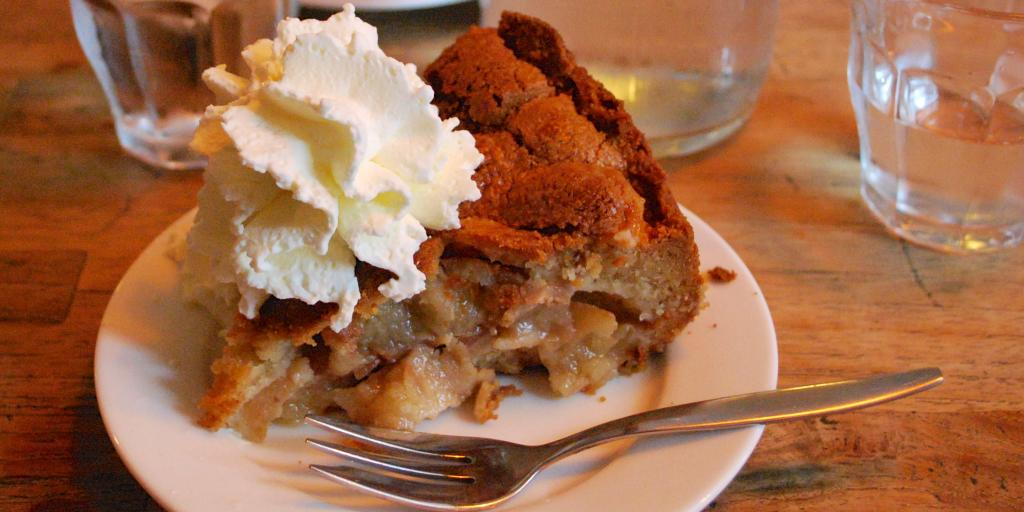 A slice of apple pie and whipped cream at Winkel 43 in Amsterdam
