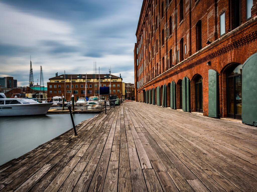 The Inn building and boats at Henderson's Wharf in Fells Point, Baltimore, Maryland