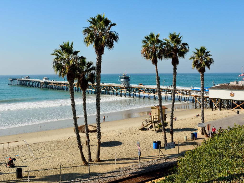 San Clemente beach, pier and The Fisherman's Restaurant on a beautiful day, California