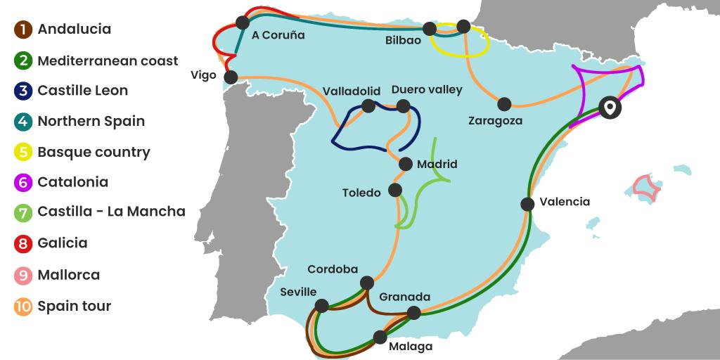 Map Of North Spain Coast.10 Epic Spain Road Trips Maps Itineraries And Tips Lazytrips