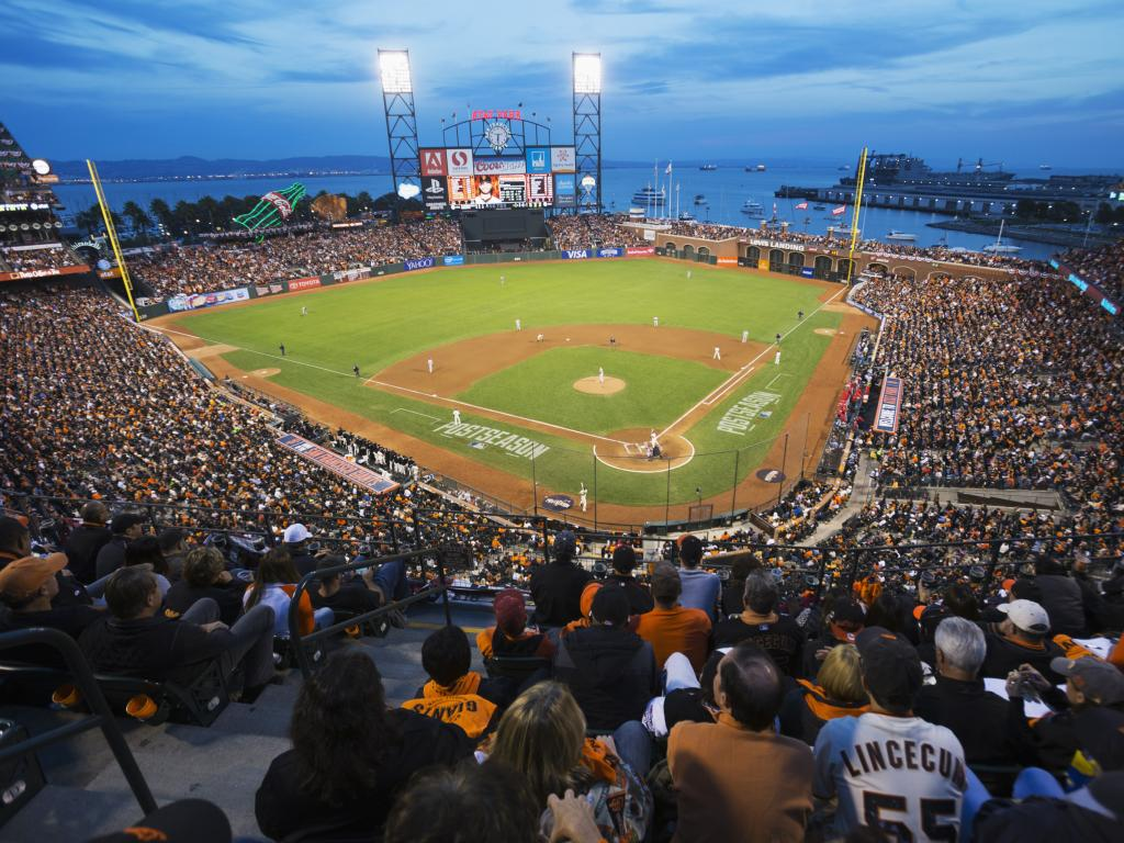 San Francisco Giants playing at AT&T Park at night
