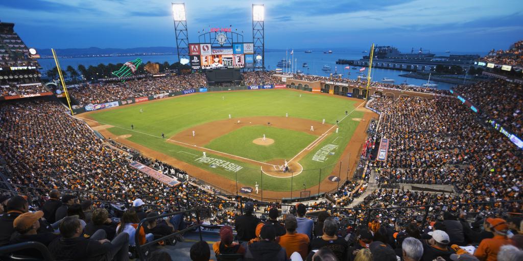 San Francisco Giants playing at AT&T Park at night