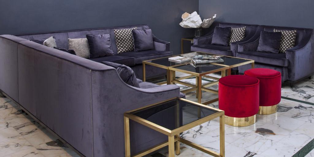 Velvet sofas in the Metro 900 Hotel lounge in Naples, Italy