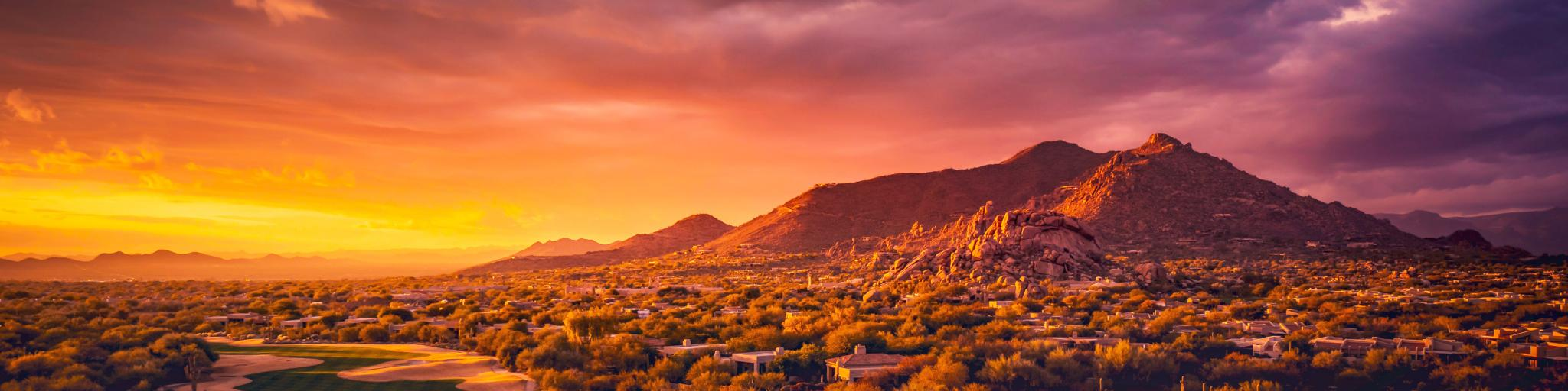 A panoramic view of the beautiful golden hour illuminating the desert of Scottsdale Arizona