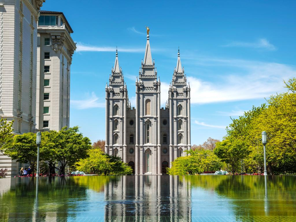 View of  the Salt Lake Mormon Temple from behind the Reflecting Pool in Salt Lake City, Utah