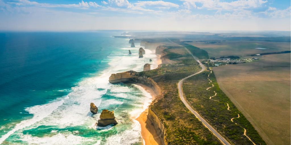 The Great Ocean Road skirts along the coast in Australia
