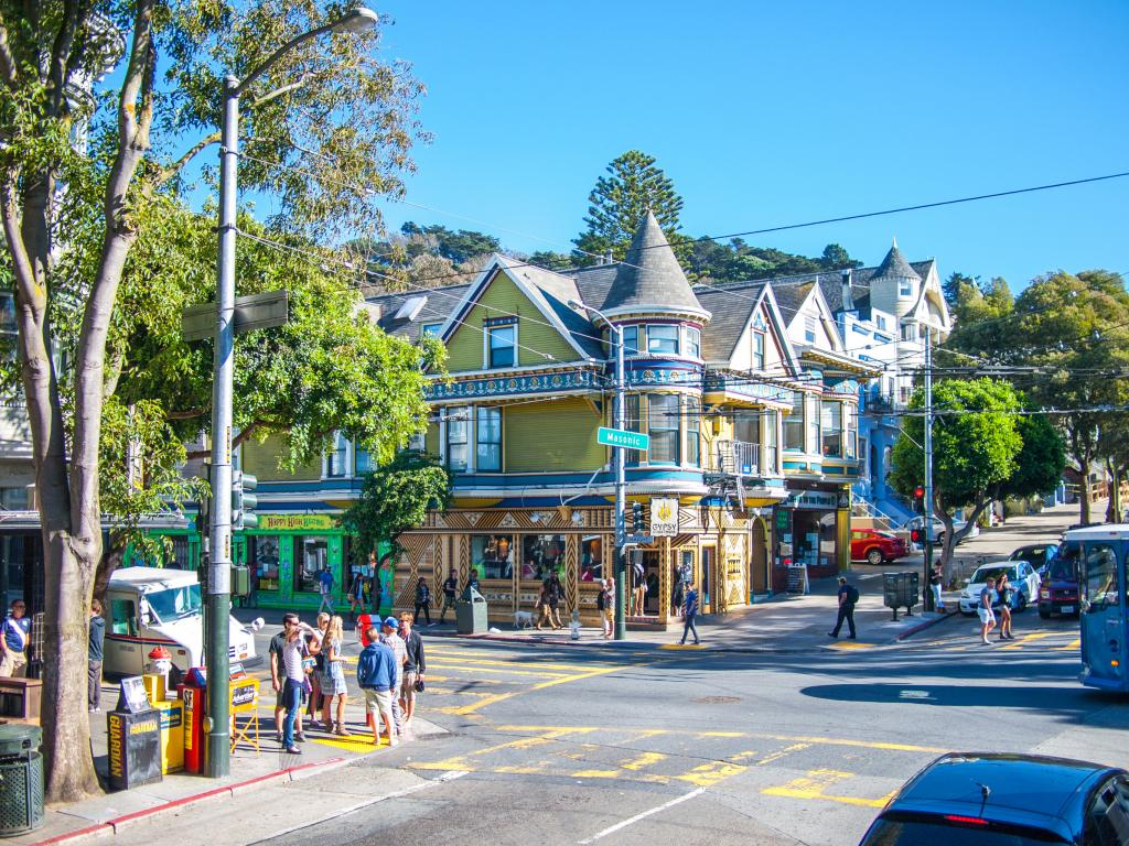 Haight Ashbury district with colorful buildings in San Francisco