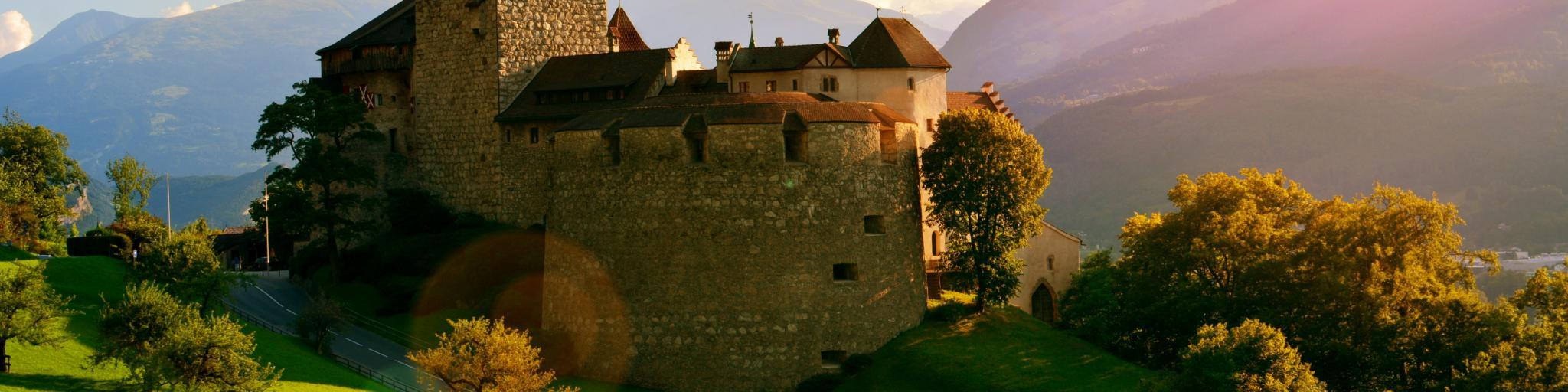 Vaduz Castle perched on a sunny hilltop in Liechtenstein's capital city