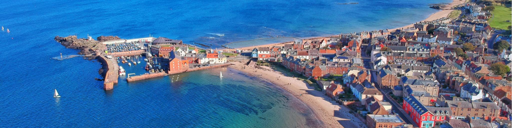 Birdseye view of the coastal village of North Berwick in Scotland