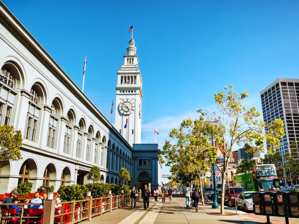 San Francisco's Ferry building built in 1898 with a 245-foot tall clock tower