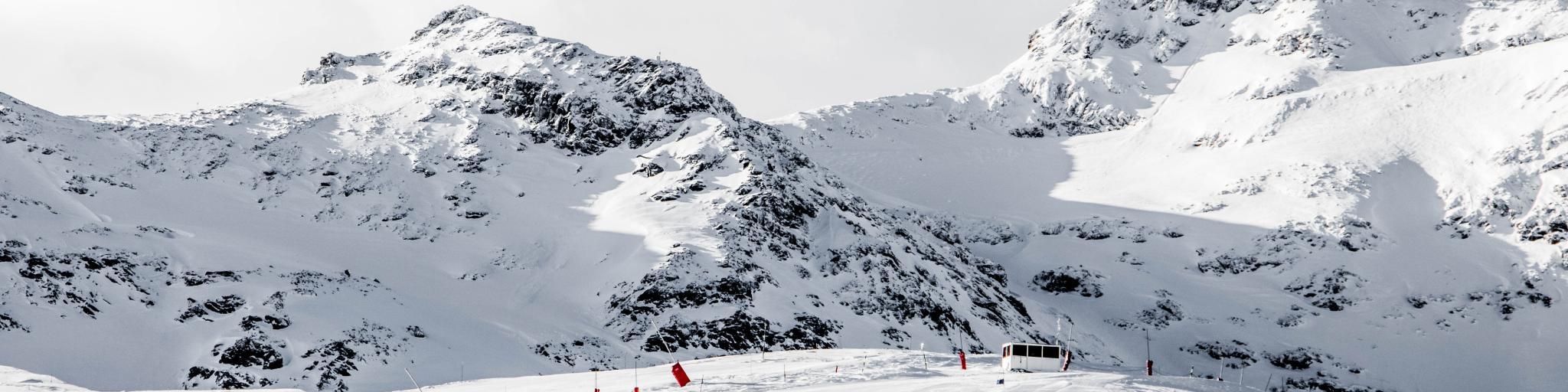 The snow-covered ski slopes of Val Thorens, France