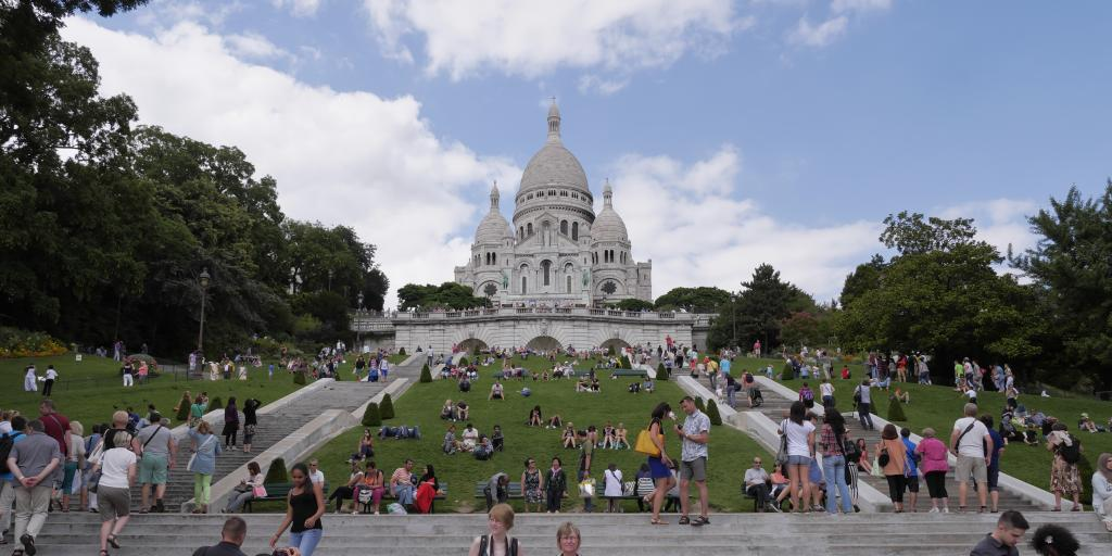 Sacre Coeur as seen from the bottom of the Montmartre hill in Paris