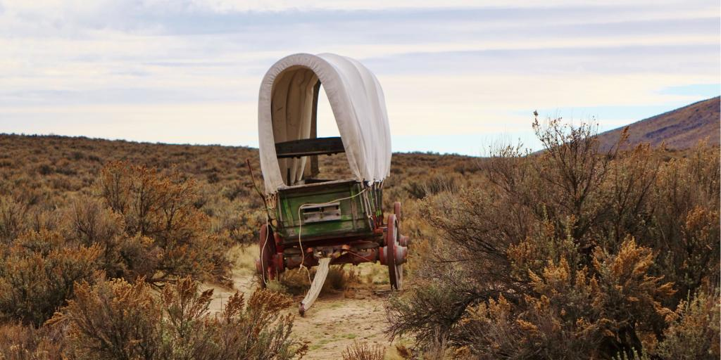 Old covered wagon along the historic Oregon Trail near Baker City