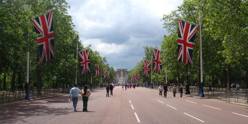 View down The Mall to Buckingham Palace in London