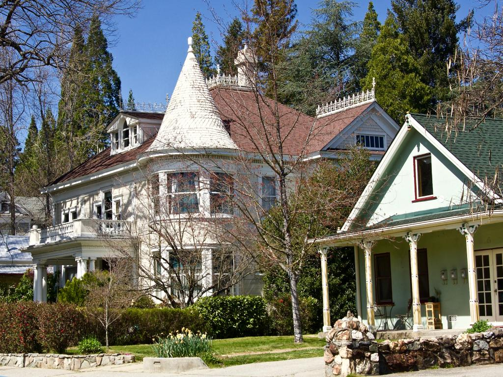 Elaborate old houses in the historic downtown of Nevada City. California