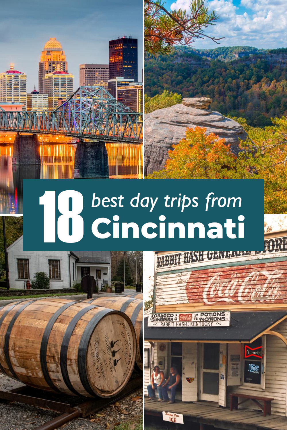 18 best day trips from Cincinnati - from amazing city breaks to State Parks, caverns, bourbon distilleries and quirky towns.