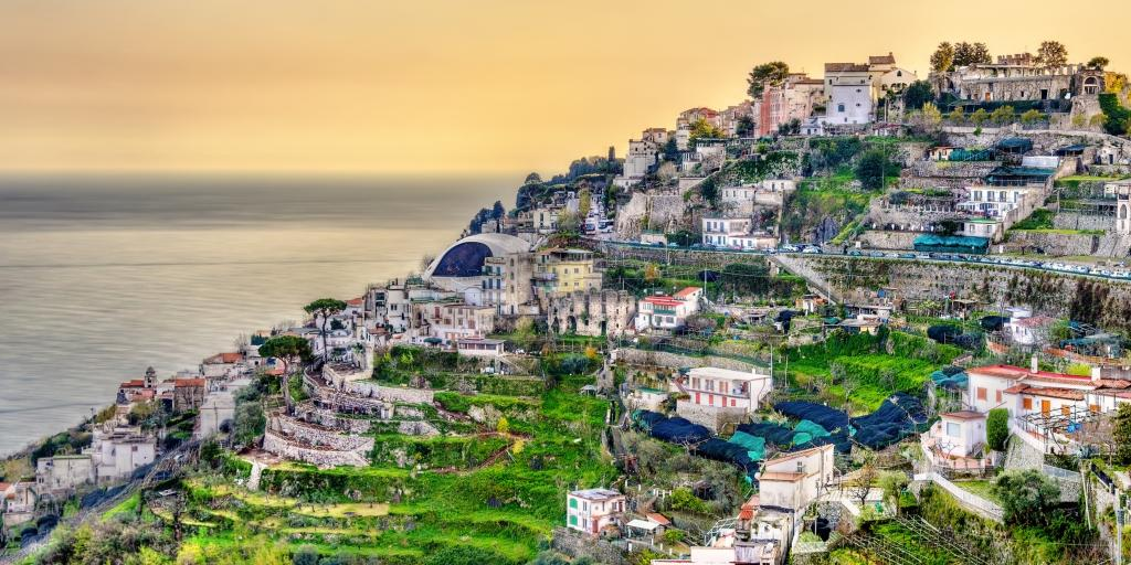 A shot of Ravello on a hill overlooking the sea