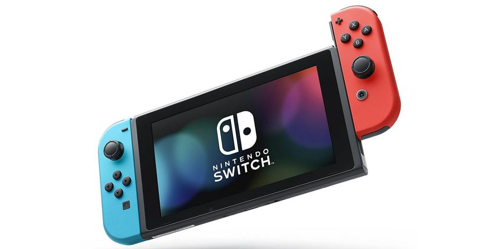 Nintedo Switch with its red and blue controllers