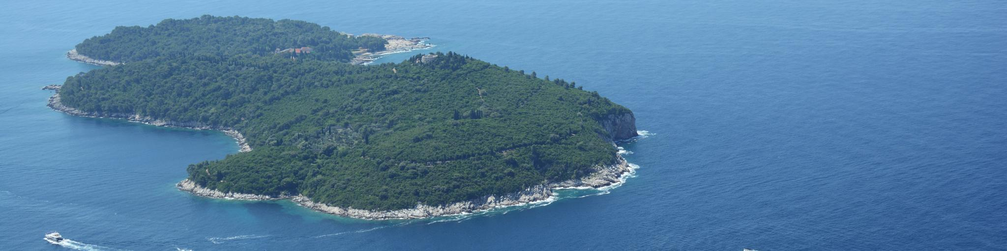 An aerial view of the island of Lokrum just off the coast of Dubrovnik
