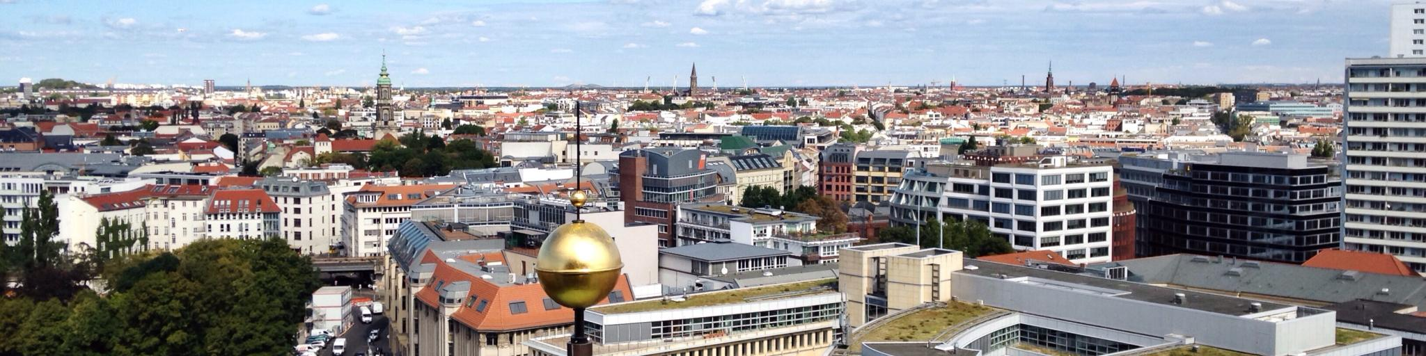 View of Berlin from the top of Berlin Cathedral on Museum Island in the city's Mitte district