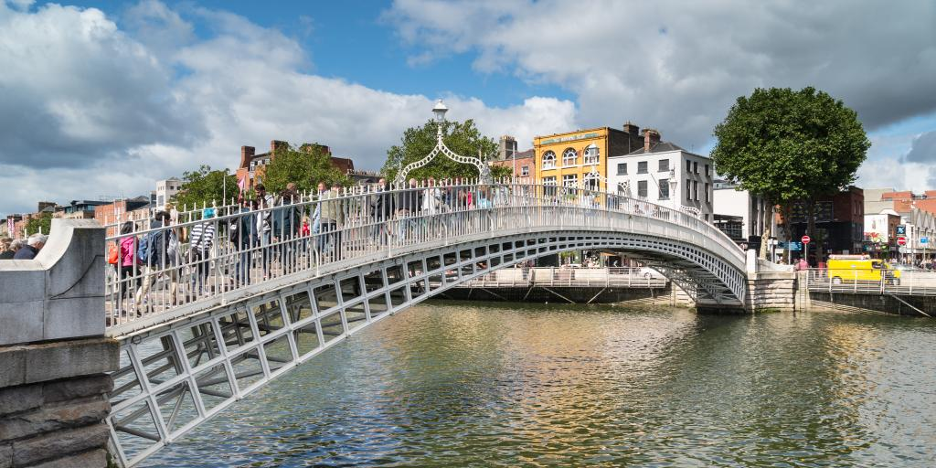 Ha'penny Bridge crosses over the River Liffey in Dublin, Ireland