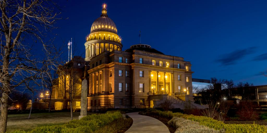 Idaho State Capital Building in Boise lit up at night